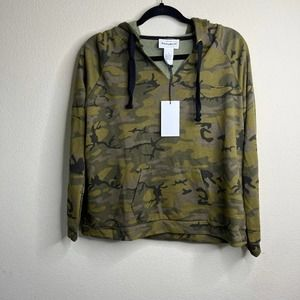 FOR THE REPUBLIC Camo-Print Cotton-Blend Hoodie Jacket size small